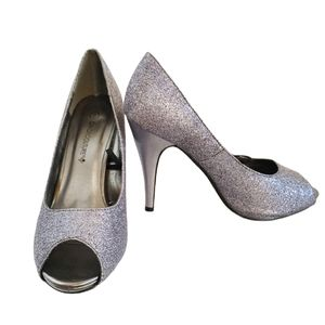 Candy Couture Silver Glitter Peep Toe Heels
